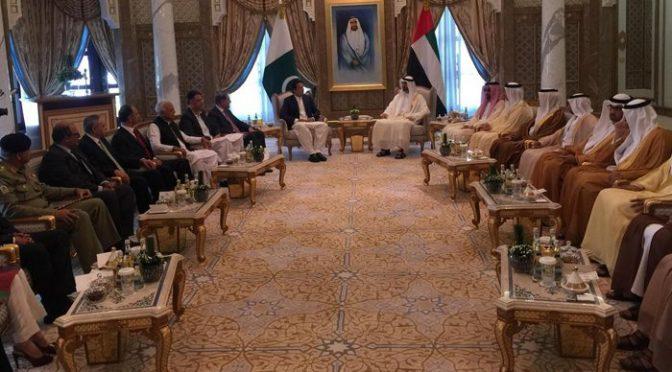 وزیراعظم کی شیخ محمد بن زید سے دبئی میں ملاقات، باہمی دلچسپی کے امور پر گفتگو