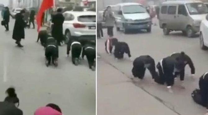 چینی کمپنی کی ملازموں کو سڑک پر ہاتھ پاؤں کے بل چلنے کی سزا