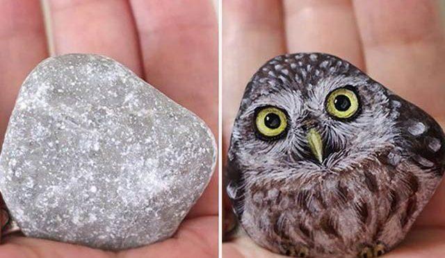 بے ہنگم پتھروں پر پینٹنگ سے بنی جانوروں کی دلکش تصاویر