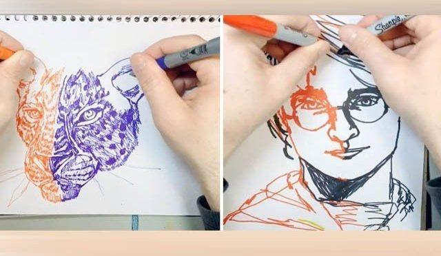 ایک وقت میں دونوں ہاتھوں سے تصاویر بنانے والا فنکار