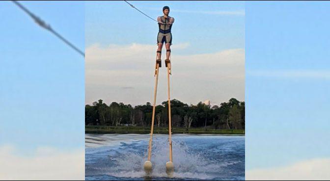 11 فٹ بلندی سے واٹر اسکیئنگ کا دلچسپ مظاہرہ، ویڈیو وائرل